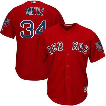 DCCKFS2 MLB Men's Boston Red Sox David Ortiz Baseball Red Alternate Cool Base Jersey with Retirement Patch
