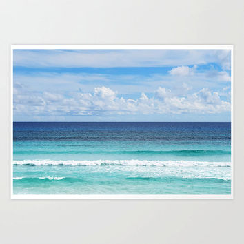 Playa Bonita - Photograph Print, Blue Ombre Style Seascape Decor, Cozumel Mexico Wall Art Landscape Tropical Accent. 8x10 11x14 16x20 20x30