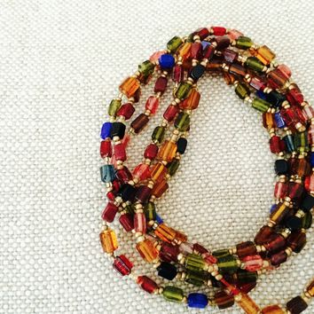 Necklace, Ultra Long 30 Inch Necklace. Hand Cut & Hand Crafted. Wrap Bracelet, Double Strand Necklace. Assorted color options.