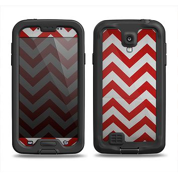 The Red Vintage Chevron Pattern Samsung Galaxy S4 LifeProof Nuud Case Skin Set