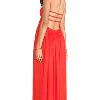 Indah Flamingo Rayon Crepe Smocked Bandeau Maxi Dress in Orange