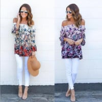 Floral Printed Off Shoulder T-Shirt B0014385