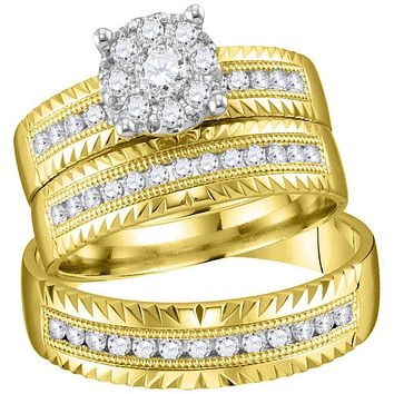 14kt Yellow Gold His & Hers Round Diamond Cluster Matching Bridal Wedding Ring Band Set 3/4 Cttw - FREE Shipping (US/CAN)