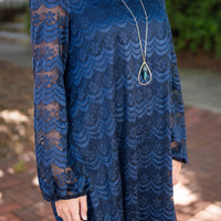 Fancy Fun Lace Dress, Navy