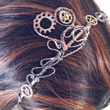 Wire Wrap Heart and Gears Steampunk Headband