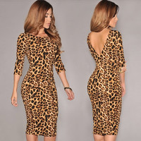 New Women's Fashion Sexy Backless Middle-Long Sleeve Leopard Print Party Evening Dress F_F (Size: S, Color: Leopard)