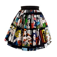 "Women's ""Retro Comic Strip Skirt"" Skirt by Hemet"