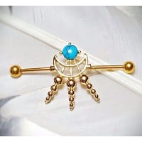 Cosmic Industrial Barbell with Turquoise Stone