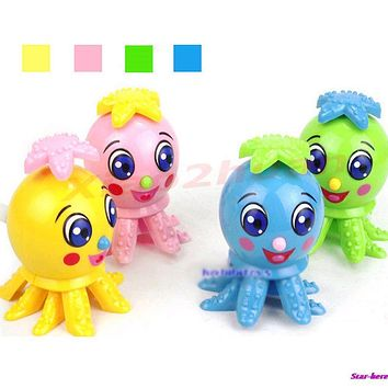 5Pcs Lot Lovely Funny Octopus Cartoon Animal Wind Up Clockwork Design Toys For Children