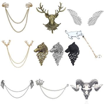 Vintage Angel Wings Deer Wolf Cat Brooch Pin For Women Multiple Layers Chain Crown Skull Head Brooches Shirt Collar Pins Broches