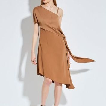 Asymmetric Oblique Collar Backless Dress