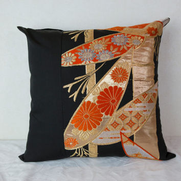 "Bamboo Cushion Cover  ""Blossoms on Bamboo"" (Japanese Silk Kimono Obi; Japan Cushion; Made in Japan; Japanese Pillows; Pink Kimono Pillow)"