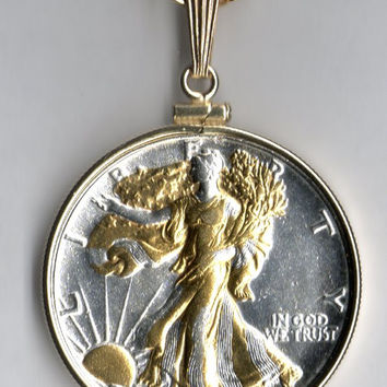 Gorgeous 2-Toned Gold & Silver Old U.S. Walking Liberty half dollar Necklace
