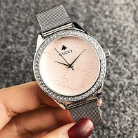 GUCCI Fashion New Round Shell More Diamond Women Men Watch