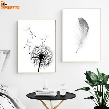 COLORFULBOY Posters And Prints Wall Art Canvas Painting Dandelion Feather Nordic Poster Wall Pictures For Living Room Home Decor