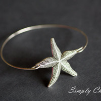 Large Starfish  Silver Bangle Bracelet