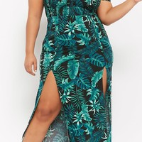 Plus Size Leaf Print Maxi Dress