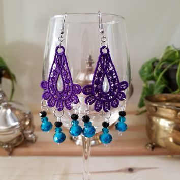 Purple Embroidery Glass Bead Earrings