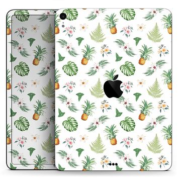 "The Tropical Pineapple and Floral Pattern - Full Body Skin Decal for the Apple iPad Pro 12.9"", 11"", 10.5"", 9.7"", Air or Mini (All Models Available)"