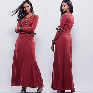 Red Cut Out Drawstring Maxi Dress
