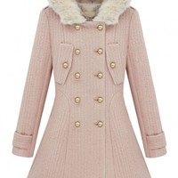 Glamorous Slim Buttons Hooded A-Line Coat - OASAP.com