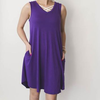 V-Neck A-Line Dress - Purple