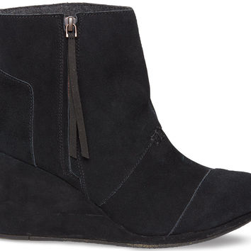 TOMS Desert Wedge High Women Black Suede