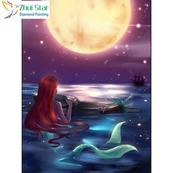 5D Diamond Painting Mermaid in the Moonlight Kit