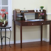 Dark Walnut Finish Home Office Writing Secretary Desk & Hutch