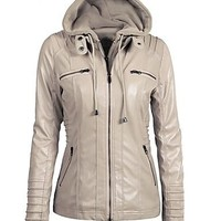 Contemporary Hooded Fall Leather Jacket