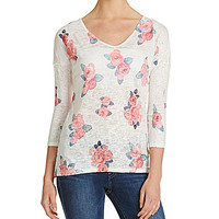 Moa Moa Floral-Print Tunic Top - Cream