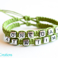 One Day at a TIme, Lime Green Hemp Bracelets, Recovery Gift for Her, Mental Health Awareness, Macrame Jewelry