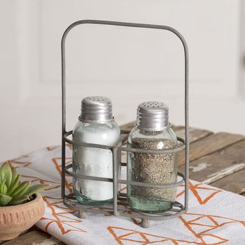 Set of 2 Salt and Pepper Carriers with Shakers