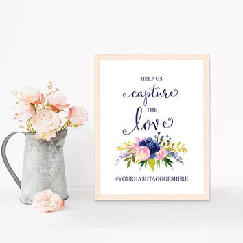 Custom wedding hashtag sign printable, Personalized hashtag printable sign, Social media sign Photo booth sign, Navy blue wedding decoration