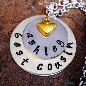 Best Cousin Necklace, Personalized Hand Stamped Charm Necklace, Family Necklace, Cousin Necklace, Heart Necklace, Star Necklace