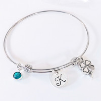 Four Leaf Clover Initial Adjustable Bangle with Pewter Shamrock Charm and Swarovski Crystal Birthstone