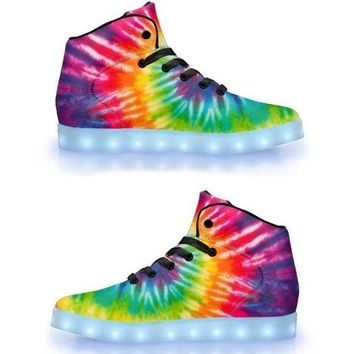 Tie Dye Dreams - APP Controlled High Top LED Shoes