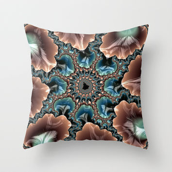 Elegant Scallops Feather Abstract Fractal Brown Aqua Turquoise Cream Shiny Stylish Digital Graphic Throw Pillow by Phenom Pixels