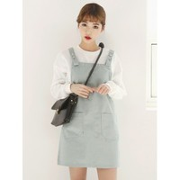 Dusty Green Dungaree Dress