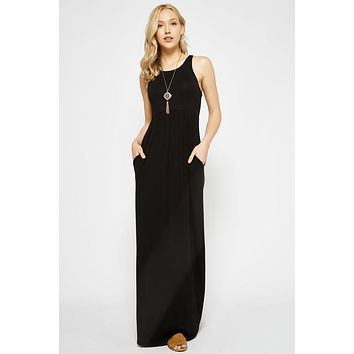 Solid Racerback Maxi Dress - Black