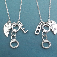 Set of 2, Personalized, Letter, Initial, PARTNERS IN CRIME, Handcuffs, Silver, Necklace, Heart, Love, Jewelry, Best friend, Friendship, Gift