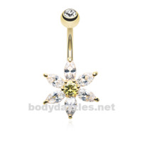 Golden Glistening Flower Bliss Belly Button Ring Stainless Steel Body Jewelry