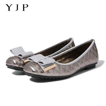 YJP Women Bowknot Ballet Flats, Gold/Black/Gray Sewing Plaid Women Flat Shoes, Elegant Ladies Square Toe Soft Sole Slip On Shoes
