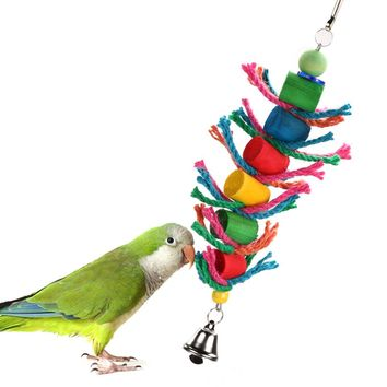 Bird Toys Swing Hanging Bird Cage Wood Chew Cylinder Rope Toys for Hamster Parrot Toys