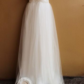 Simple Elegant Chiffon Tulle Pleated Sweetheart Wedding Dress Beach Wedding