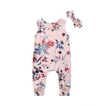 Lovely Newborn Baby Girl Floral Sets Sleeveless Flowers Print Romper Bow Headband 2Pcs Outfits Summer Milk Silk Clothes 0-24M