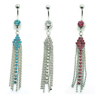 Fashion 316L Surgical Steel Dangle Rhinestone Fake Belly Button Body Piercing