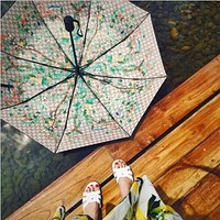 Gucci Trending Women Men Print Folding Umbrella