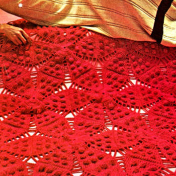Afghan Crochet PATTERN Christmas Poinsettia Afghan Crochet Pattern Vintage 1970s Poinsettia Heritage Afghan Instant Download PDF Pattern