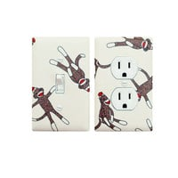 Sock Monkey Light Switch Plate and Outlet Cover SET / Cream Brown Baby Unisex Nursery Decor / Children Kids Room / Funky Monkey Moda